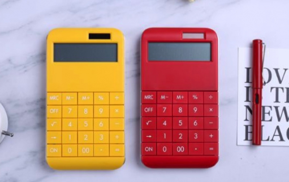 Red Color Desktop Calculator Big Number Design Big Logo Printing Solar Battery Both Power