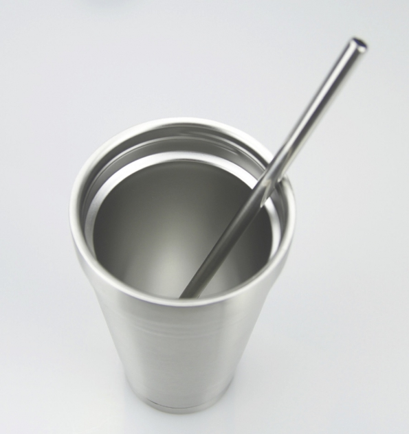 Stainless Steel Cup With A Lid And Straw Double Walled Logo Customized