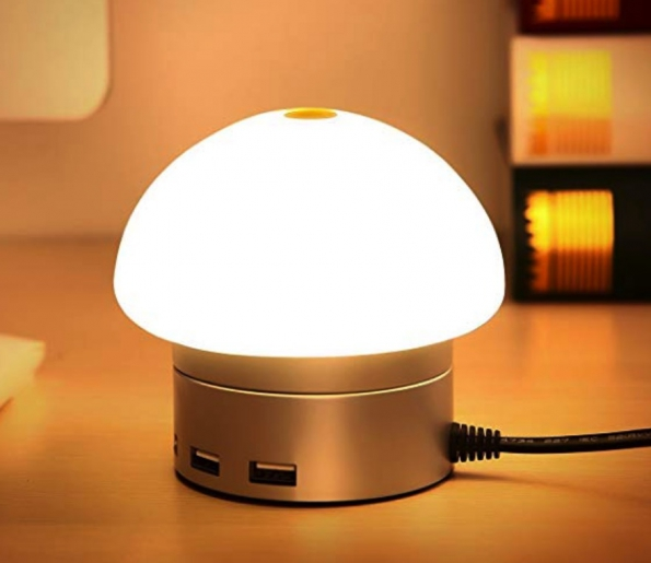 Touch Sensitive Mushroom USB Hub Light Desktop Charging Station