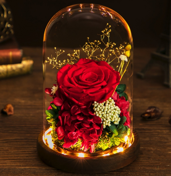 Glass Cover Rose LED Light Wood Bamboo Stand Romantic Gift Customizations