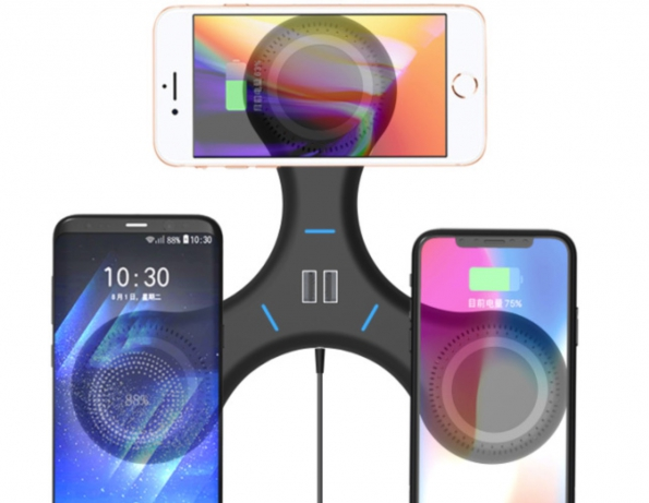 3-in-1 Finger Spinner Design QI Wireless And Wire Charger
