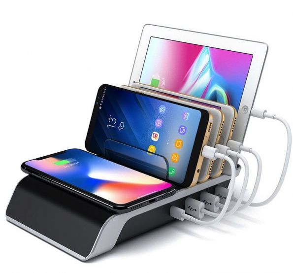 Multi Functions USB Wireless Charging Stand TypeC And 2.4A Output