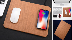 Wood Texture Mouse Pad Wireless Charge
