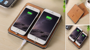 Dual Charge Wooden Wireless Charger Pad