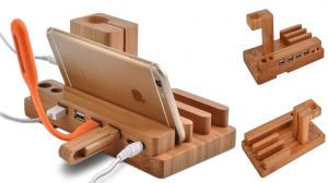 Wood Stand With USB Charging Hub 4X